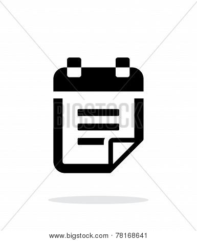Notepad with text icon on white background.