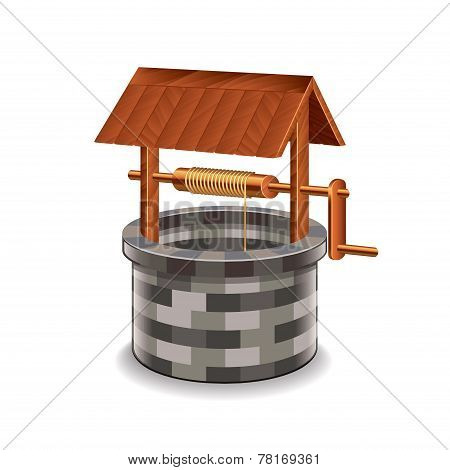Water Well Isolated On White Vector