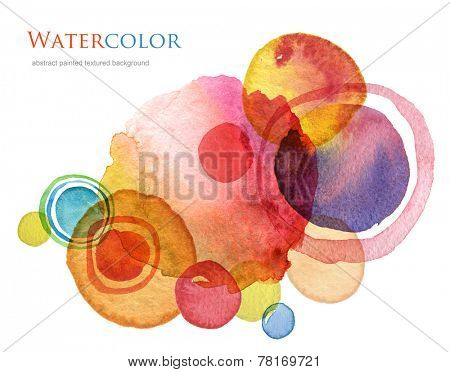 Abstract circle acrylic and watercolor painted background.