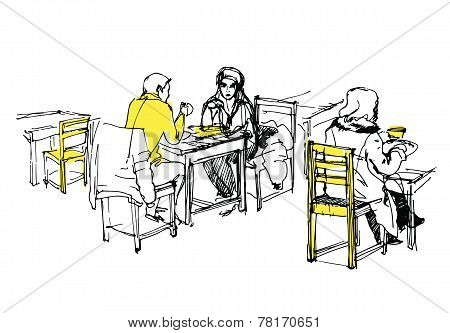 Sketch Of People Having Lunch