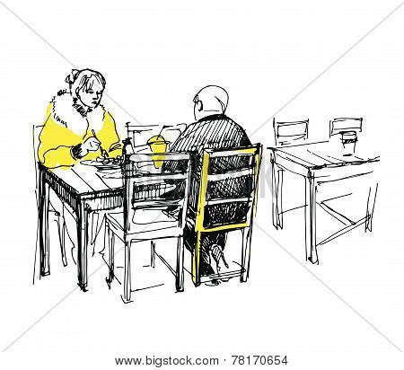 Sketch Of Couple Having Lunch
