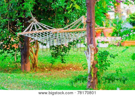 Empty Hammock In The Garden Of The Villa