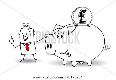 Piggy bank and pound sterling.This business man saves money in his Piggy bank . It's a metaphor. It's a good plan for the future