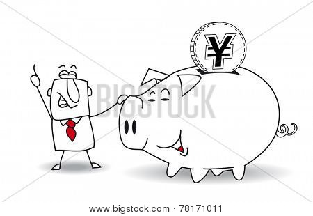 Piggy bank and japanese yen.This business man saves money in his Piggy bank . It's a metaphor. It's a good plan for the future