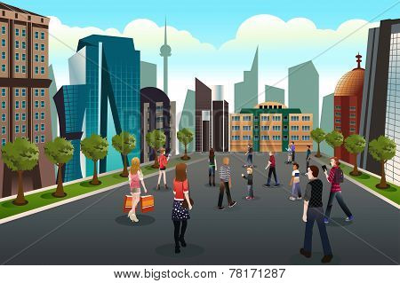 People Walking Outside Toward High Rise Buildings
