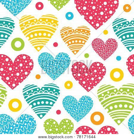 Colorful Doodle Erased Fun Hearts Seamless Background Pattern Design (vector Illustration)