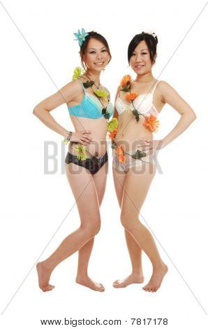 Two Chinese Girls In Lingerie.