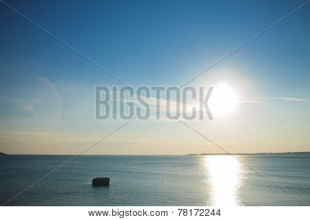 sea and sky during sundown. Bright seascape