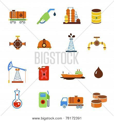 Oil extraction gas production transportation and distribution pictograms collection with industrial