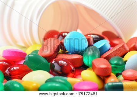 Composition With Variety Of Drug Pills And Container