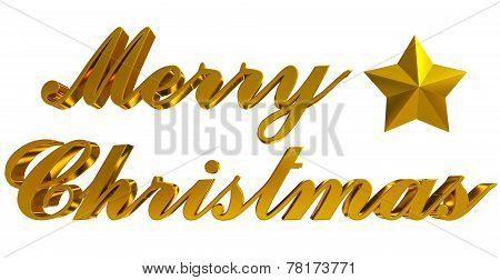 Merry Christmas Greeting, Golden 3D Letters And Star On White