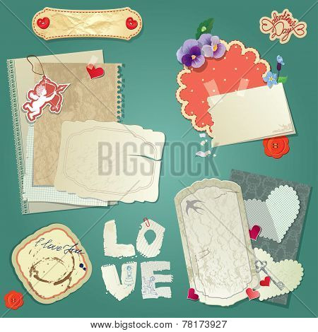 Set Of Vintage Postcards, Vintage Papers And Labels, Hearts For Valentines Day Design.