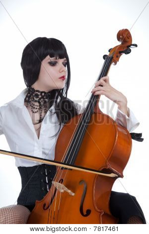 Attractive Girl Playing Cello