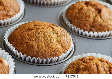 Banana Muffins In Baking Tray