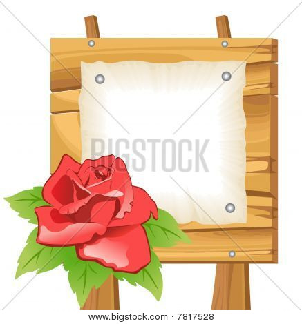 Wooden background with flower