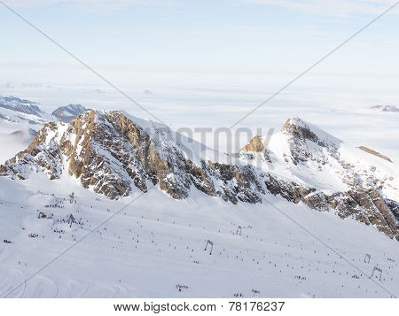 Skiing On A Glacier In The Alps