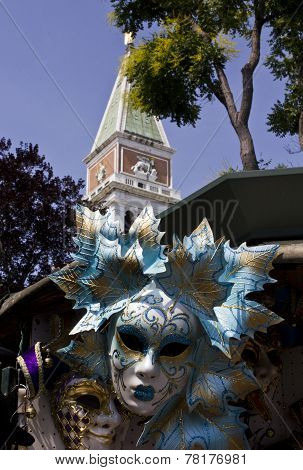 Venetian Carnival Masks and St.Mark Belltower
