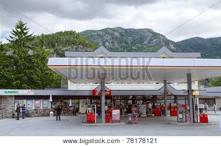 Filling station on a road to fjord in Norway