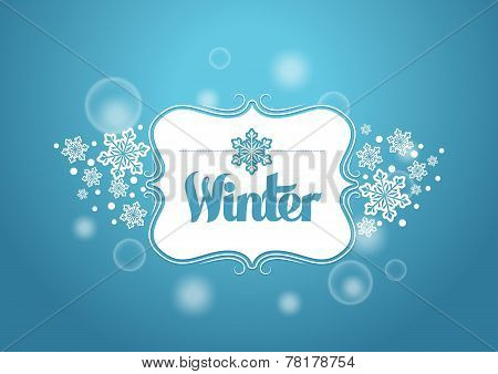 Winter Word with Snows in Blue Background