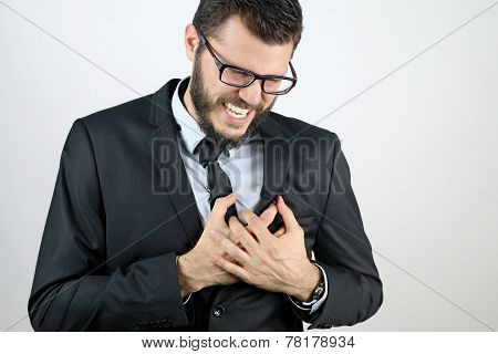 Business man with chest pain
