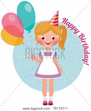 Girl With Balloons Birthday
