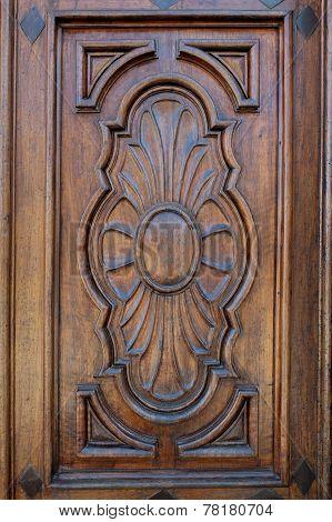Closeup of an inlaid wooden door