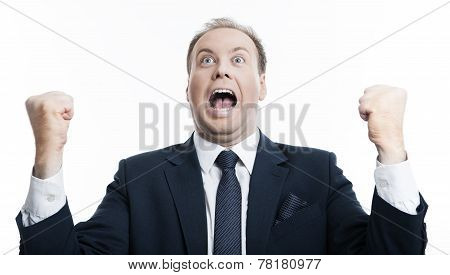 Joyfully Exclaiming Man Businessman