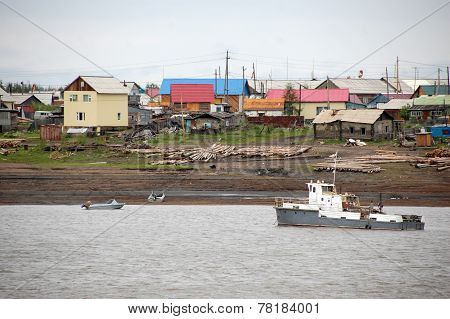 Village At Kolyma River Outback Russia