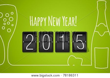 Happy New Year 2015 - Green Flat Design Background