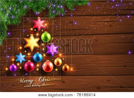 Winter Background. Wood Texture. Christmas Balls. Spruce Twigs and Xmas Lights.