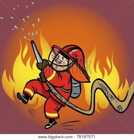 Funny Vector Cartoon Firefighter