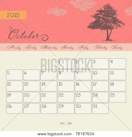Calendar for October 2015 starting Monday, vector calendar set