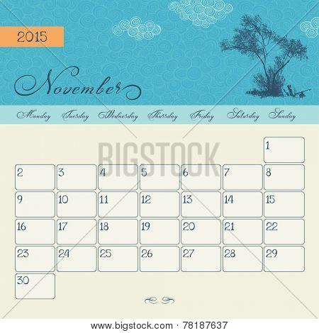Calendar for November 2015 starting Monday, vector calendar set
