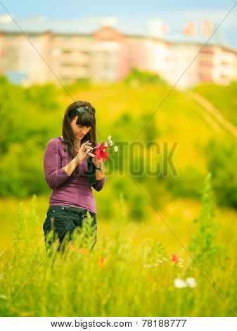 Woman Texting Touching Cell Phone Outdoor On Meadow