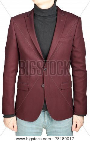 Dark Red Suit Jacket For Men, Combined With Jeans Trousers.