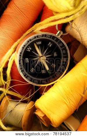 Sewing Items And Compass