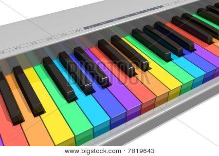 Teclado de piano arco-íris