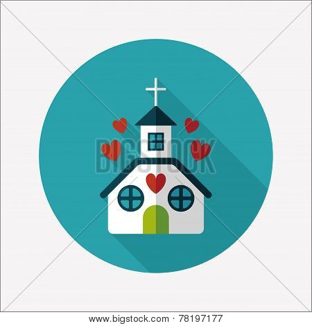 Valentine's Day Wedding Church Flat Icon With Long Shadow,eps10