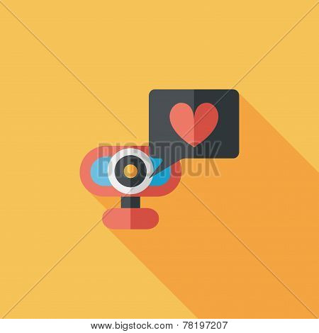 Valentine's Day Webcame Love Message Flat Icon With Long Shadow,eps10