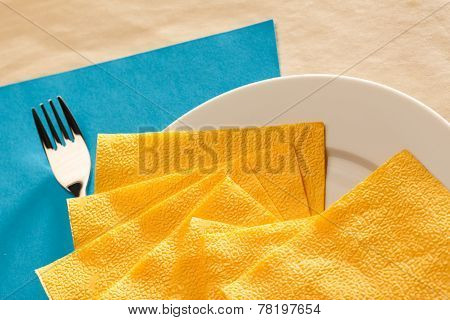 Plate, Fork And Serviette