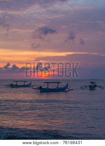 Fishing boat in Kuta Bali Indonesia