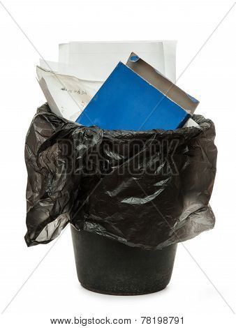 Full Black Wastebasket