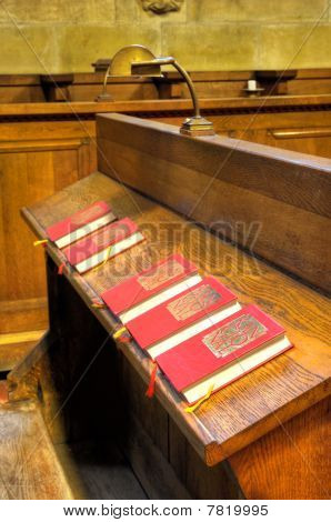 hoir chapel - detail of hymnal books