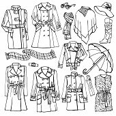 picture of outerwear  - Outline Fashionable female outerwear and accessories set on Sketchy style - JPG