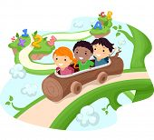 stock photo of vines  - Illustration of Kids Riding a Hollow Log Down a Giant Vine - JPG