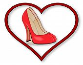 pic of stilettos  - A pair of red Stiletto heel shoes set into a red heart over a white background - JPG