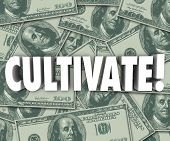 stock photo of cultivation  - Cultivate Word on money background to illustrate growing wealth through increased earnings - JPG