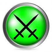 image of crossed swords  - Crossed swords isolated button on white background - JPG