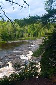 image of bluff  - Above Saint Louis River gorge and rapids from bluff in Jay Cooke State Park - JPG