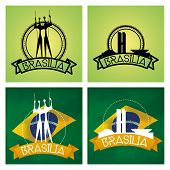 pic of brasilia  - a set of labels and backgrounds with famous places in brasilia - JPG